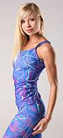 Женская майка для спорта синяя с принтом Fitness Queen