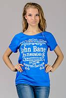 """Трикотажная футболка с принтом """"Реглан"""" (голубой) (голубой) John Baner"""