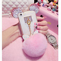 Чехол накладка силикон для iPhone 5/5S Luxury Crystal Mickey Head Bowknot Fur Bal Pink