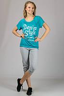 "Женская трикотажная футболка ""Реглан"" (бирюза) Denim Style"