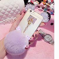 Чехол накладка силикон для iPhone 5/5S Luxury Crystal Mickey Head Bowknot Fur Bal Purple