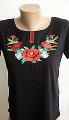 Вышитая футболка женская черная