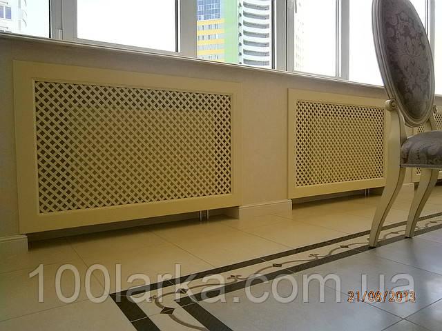 Экран декоративный на батарею отопления Решетка на нишу радиатора Дерево РР1-F60  с монтажным креплением