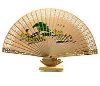 Веер деревянный с рисунком