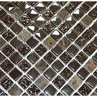 Коричневая мозаика для стен из мрамора и стекла Vivacer DAF12