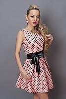 Платье  мод 248 -3 размер 48 розовый с черным горох