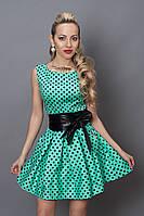 Платье  мод 248 -7 размер 46,48 бирюза с черным горохом