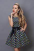 Платье  мод 248 -8 размер 44 джинс с желтым горохом