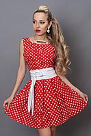Платье  мод 248 -9 размер 46 красное в белый горошек