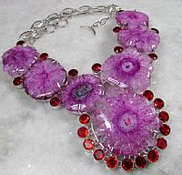 Яркое колье, ожерелье из натурального камня - Солнечного Кварца