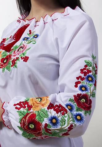 Красивая женская вышиванка с цветами есть большие до 62 размеры, фото 2