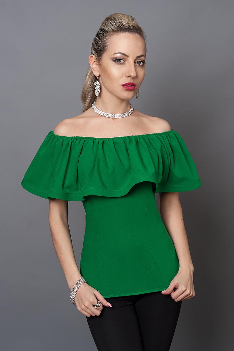Блуза мод №494-1, размеры 40,42,44  зеленая
