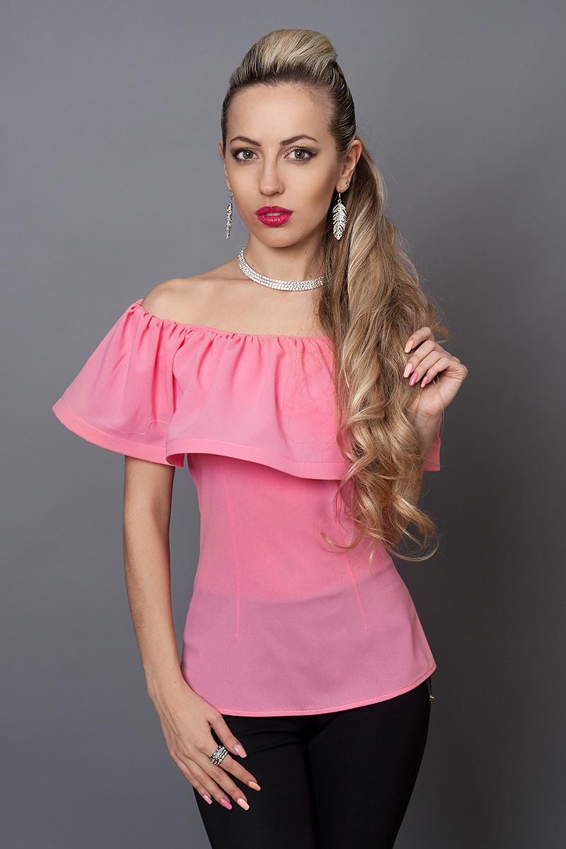 Блуза мод №494-2, размеры 40,42,44,46 розовая, фото 1