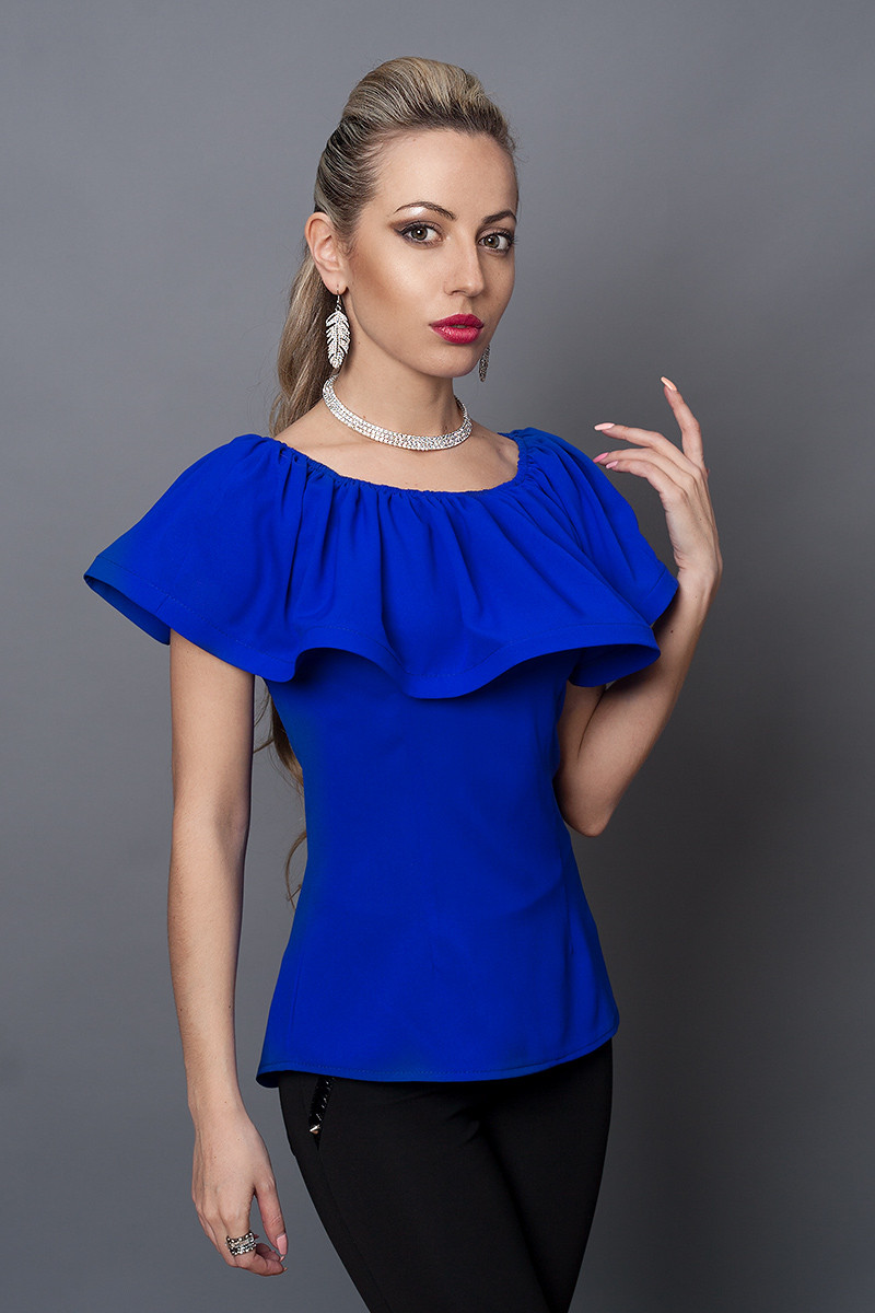 Блуза мод №494-3, размеры 40,42,44,46 электрик