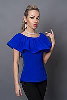 Блуза мод №494-3, размеры 40,42,44,46 электрик, фото 1