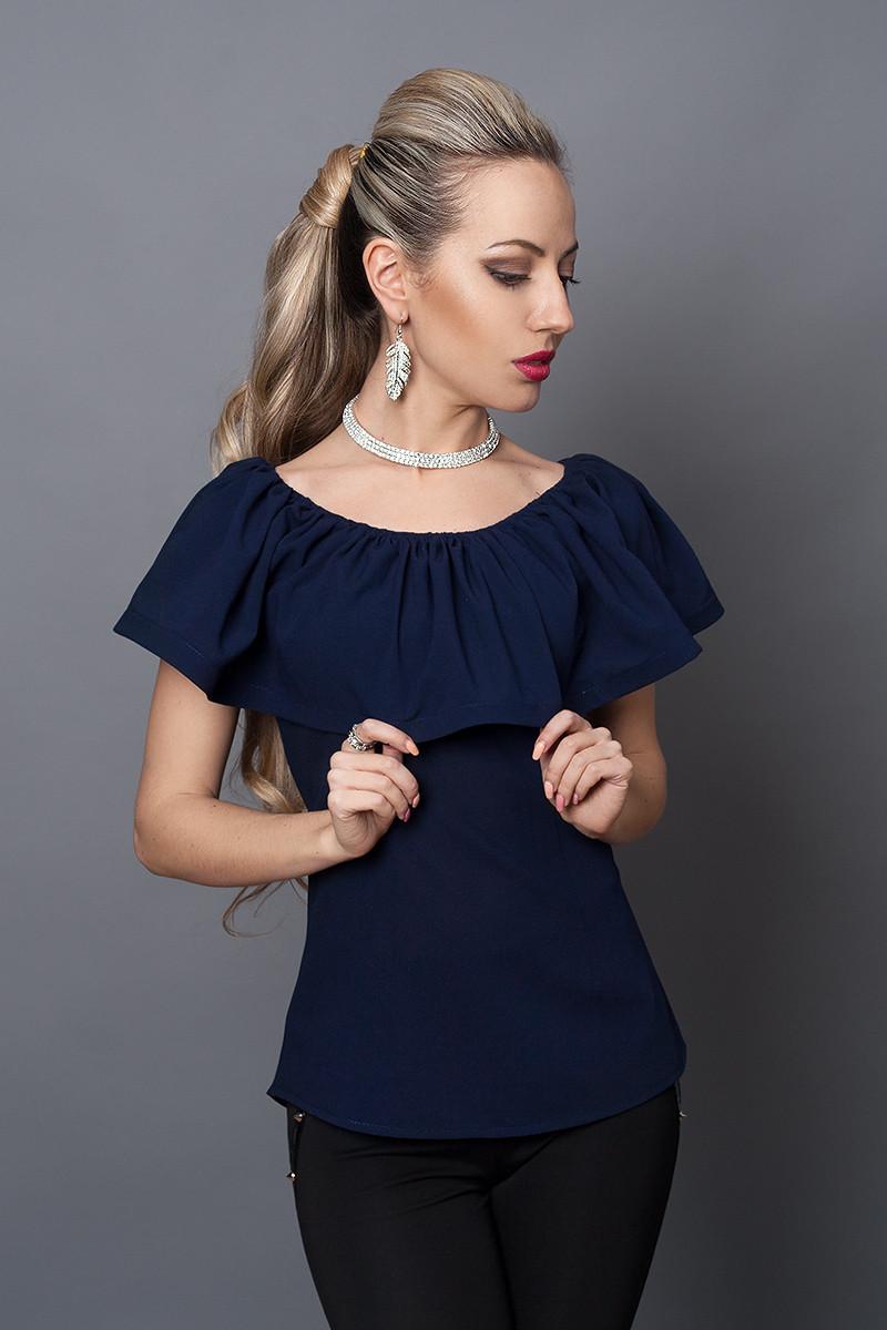 Блуза мод №494-4, размеры 40,42,44,46 темно-синяя
