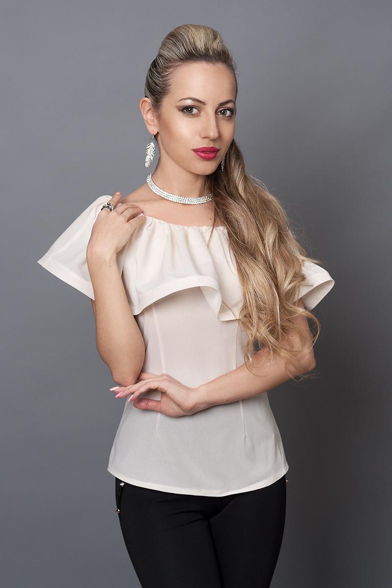Блуза мод №494-7, размеры 40,42,44,46 молочная