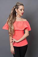 Блуза мод №494-9, размеры 40,42,44,46 лососевая, фото 1