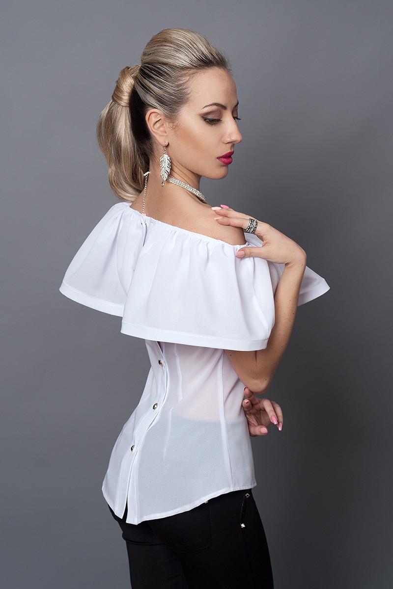Блуза мод №494-12, размеры 42,44,46 белая