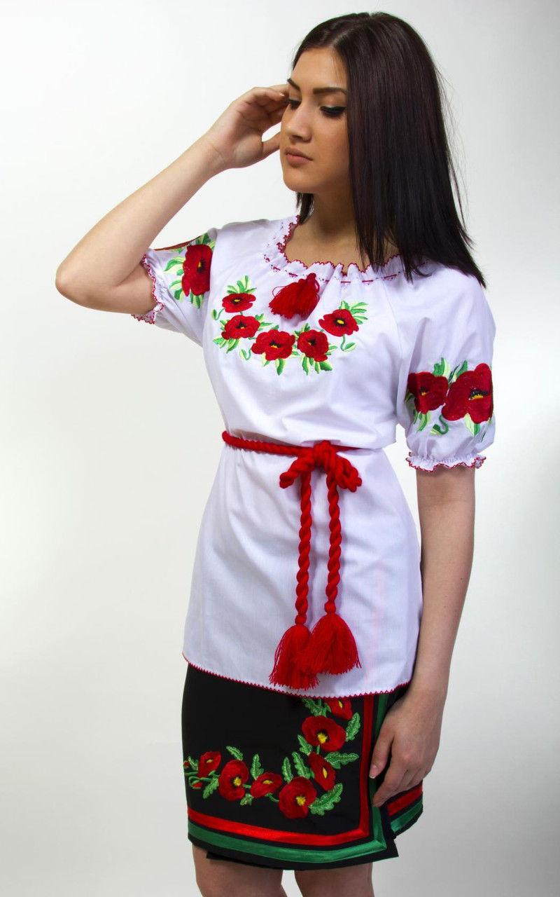 Вышиванка с маками короткий рукав есть большой размер