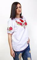 Женская вышиванка с розами короткий рукав