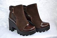 Ботильоны комбинированные коричневые женские
