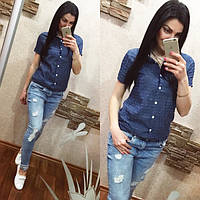 Рубашка женская с коротким рукавом джинс