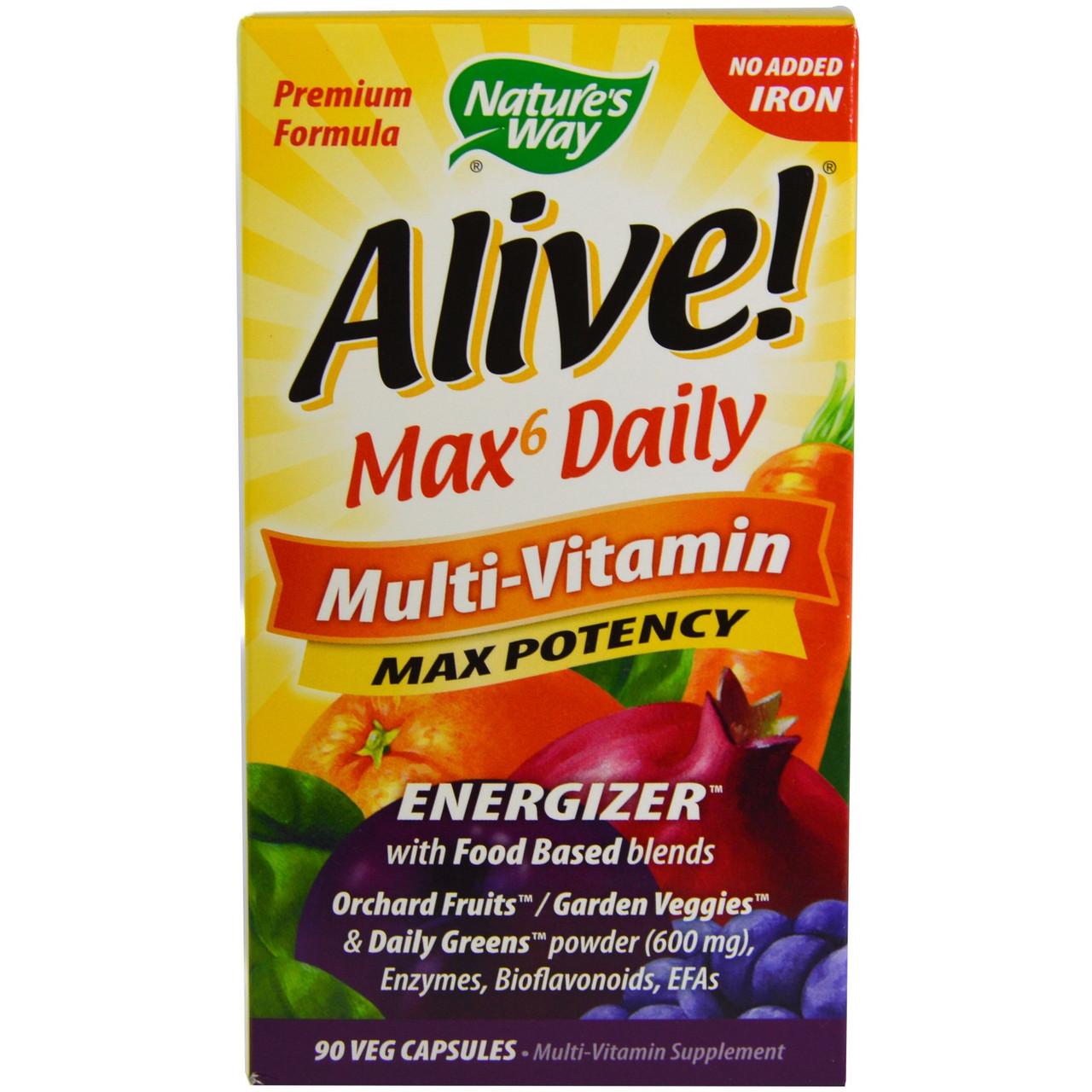 Полівітаміни Енерджайзер з ензимами і омегою, Max6, nature's Way, 90 капсул
