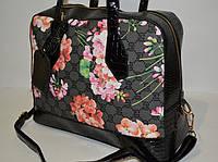 Женская сумка с цветами, черная