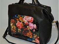 """Женская сумка """"Fashion"""" с цветами, черная"""