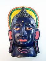 Этническая маска Будда 36 см синяя