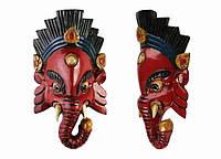 Этническая маска Ганеша 25 см красная