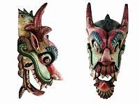 Этническая маска Дракон Раджа черный гребень 70 см узкая