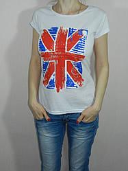 Футболка женская британский флаг синяя, белая Турция