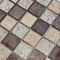 Мозаика для кухни стеклянная коричневая Vivacer Mix Grey