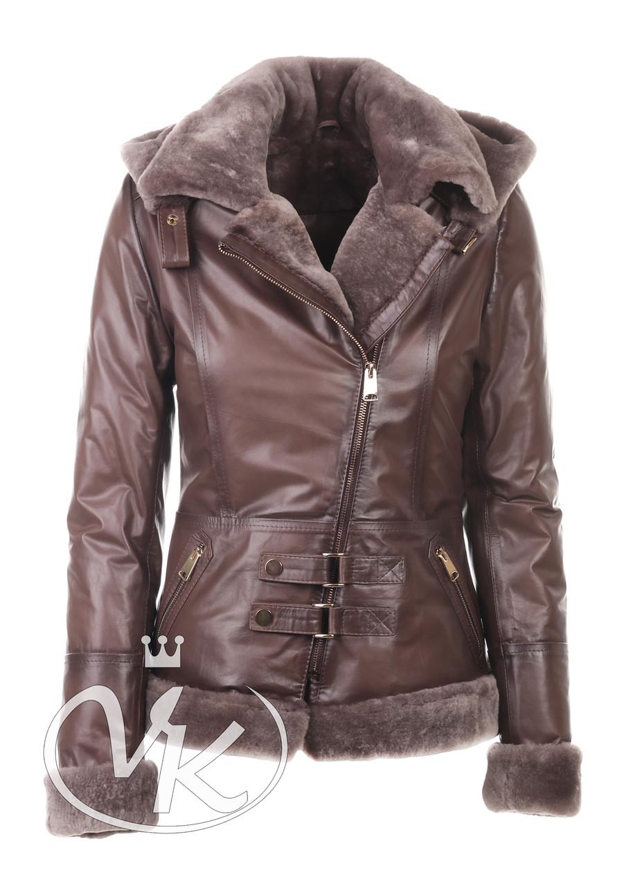 Зимняя куртка косуха женская натуральная коричневая 50 размера (Арт. SA112-2)