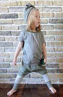 Хлопковая легкая футболка оливкового цвета. Унисекс. Размеры: 92 см, фото 1