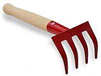 Грабельки крашенные, деревянная ручка 360 мм, 4 зуба, код 771-048