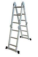 Лестница алюминиевая трансформер 4 ступеньки х 4 секции (Н 4, 75м; 14кг), код 770-144