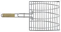 Решетка-гриль для рыбы 28*28 см, с деревянной ручкой, 55 см, код 773-502