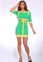 Платье женское  недорого с бантом зеленое   Ретро  размеры 42, 44, 46, 48