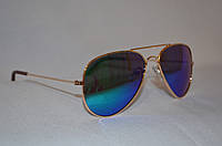 Солнцезащитные очки детские Aviator Хамелеон сине-зеленый