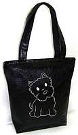 """Женская сумка - """"Собачка"""" Б300 - черная, фото 1"""