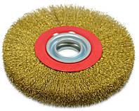 Щетка-крацовка утолщенная дисковая, латунная 125х20 мм, код 718-073