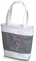 Женская сумка - Коты под деревом (комбинированные ткани) К53 - бело-серая, фото 1