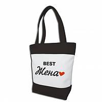 """Женская сумка - """"Best Жена"""" (комбинированые ткани) К 96 - черно-белая, фото 1"""