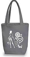 """Женская сумка - """"Девушка с собачкой"""" Б52 - серая, фото 1"""