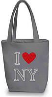 """Женская сумка - """"I love NY"""" Б44 - серая, фото 1"""