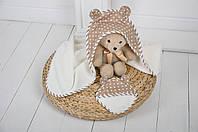 """Детское махровое полотенце с уголком """"Медвежонок"""" для купания малышей (бежевый)"""