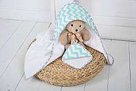 """Детское махровое полотенце с уголком """"Феерия"""" для купания малышей (бирюза)"""